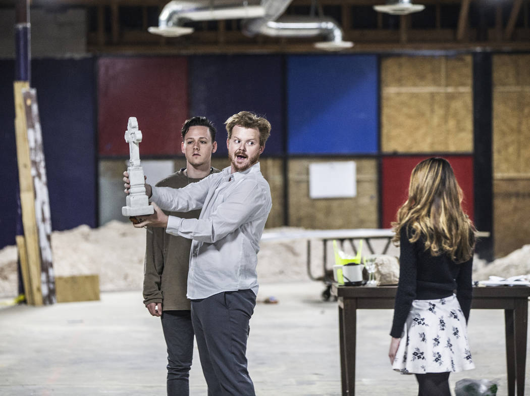 """Actors Mike Rasmussen, left/front, and Rebecca Reyes work through a scene during rehearsal for the comedy """"The Realistic Joneses"""" at A Public Fit Theater Company on Thursday, Apr ..."""