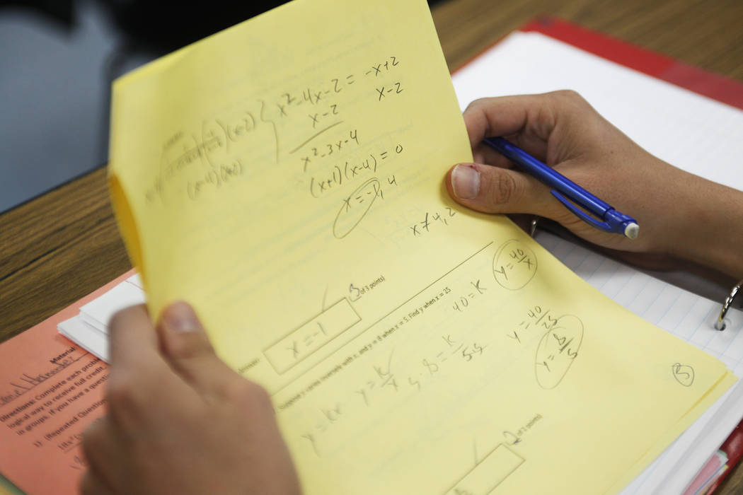 Daniel Hernandez looks at his test at a remedial math class on Thursday, April 20, 2017, at UNLV in Las Vegas. Usually about 12 students attend. Rachel Aston Las Vegas Review-Journal @rookie__rae
