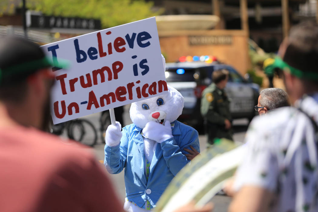 A demonstrator dressed as the Easter Bunny walks along Fashion Show Drive during a tax day protest at Trump International Hotel on Saturday, April 15, 2017. Brett Le Blanc Las Vegas Review-Journal ...