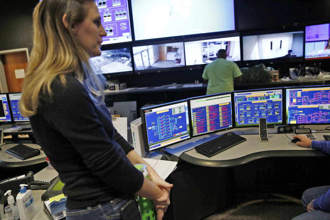 Janelle Boetler watches over the 24-hour command center at the Las Vegas Valley Water District headquarters on Wednesday, January 25, 2017, in Las Vegas. Rachel Aston Las Vegas Review-Journal @roo ...