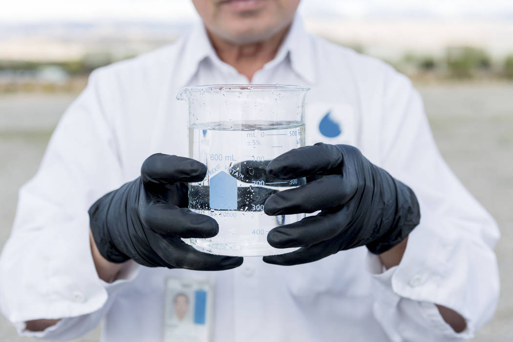 Water Quality Monitoring Field Specialist Daniel Luong tests water samples from the Montessori Reservoir and Pumping Station in Las Vegas, Thursday, March 23, 2017. (Elizabeth Brumley/Las Vegas Re ...