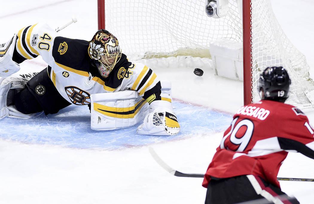 Ottawa Senators centre Derick Brassard (19) scores on Boston Bruins goalie Tuukka Rask (40) during third period of game two NHL Stanley Cup hockey playoff action in Ottawa, Saturday, April 15, 201 ...