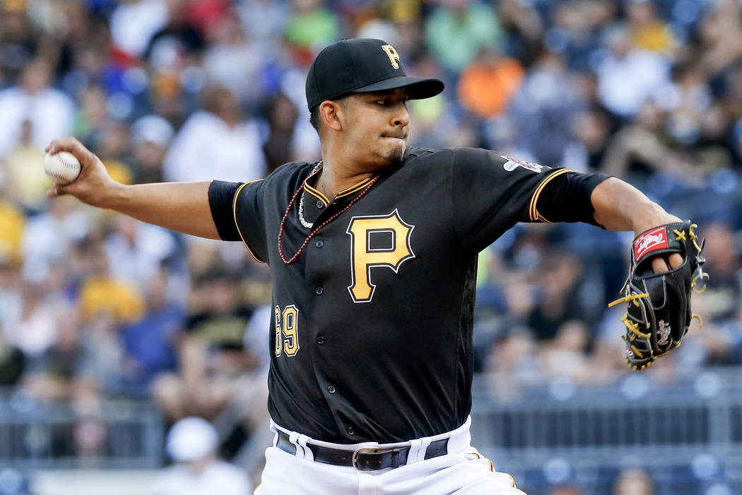 Pittsburgh Pirates starting pitcher Wilfredo Boscan throws against the San Francisco Giants in the first inning of a baseball game, Tuesday, June 21, 2016, in Pittsburgh. (AP Photo/Keith Srakocic)