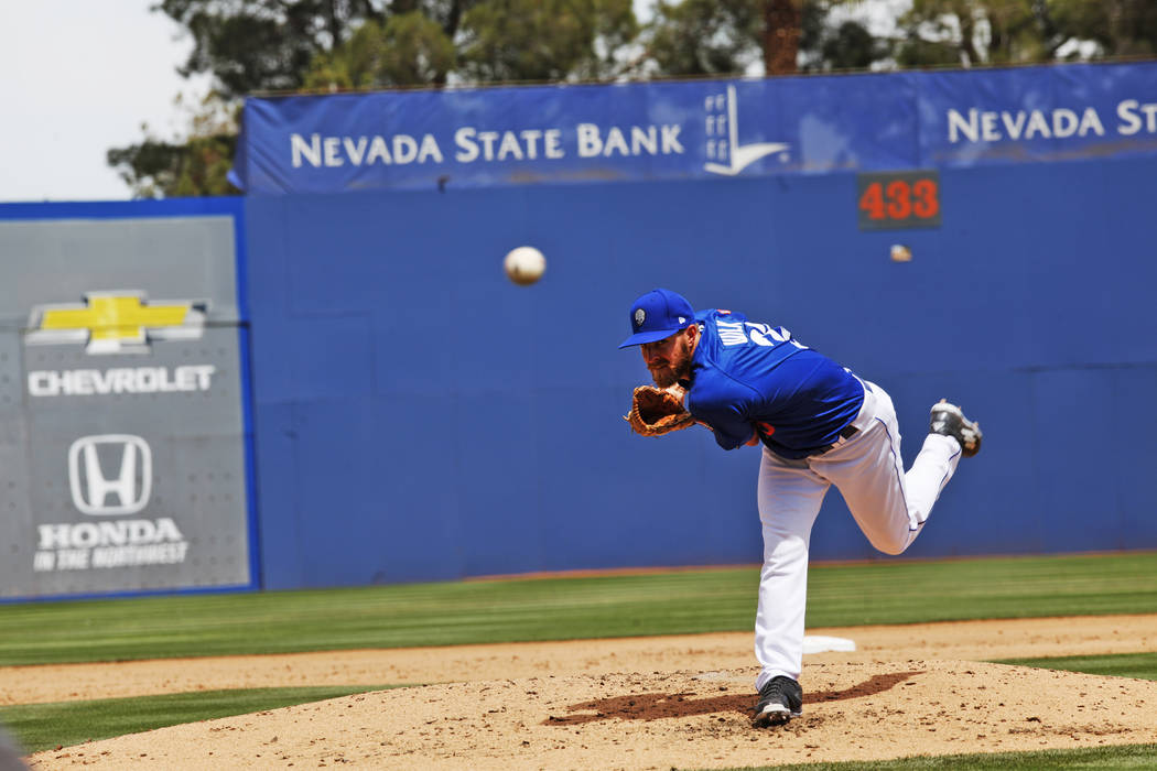 Las Vegas 51s Pitcher Adam Wilk pitches the ball against the Sacramento River Rats on Sunday, April 16, 2017, at Cashman Field in Las Vegas. Rachel Aston Las Vegas Review-Journal @rookie__rae