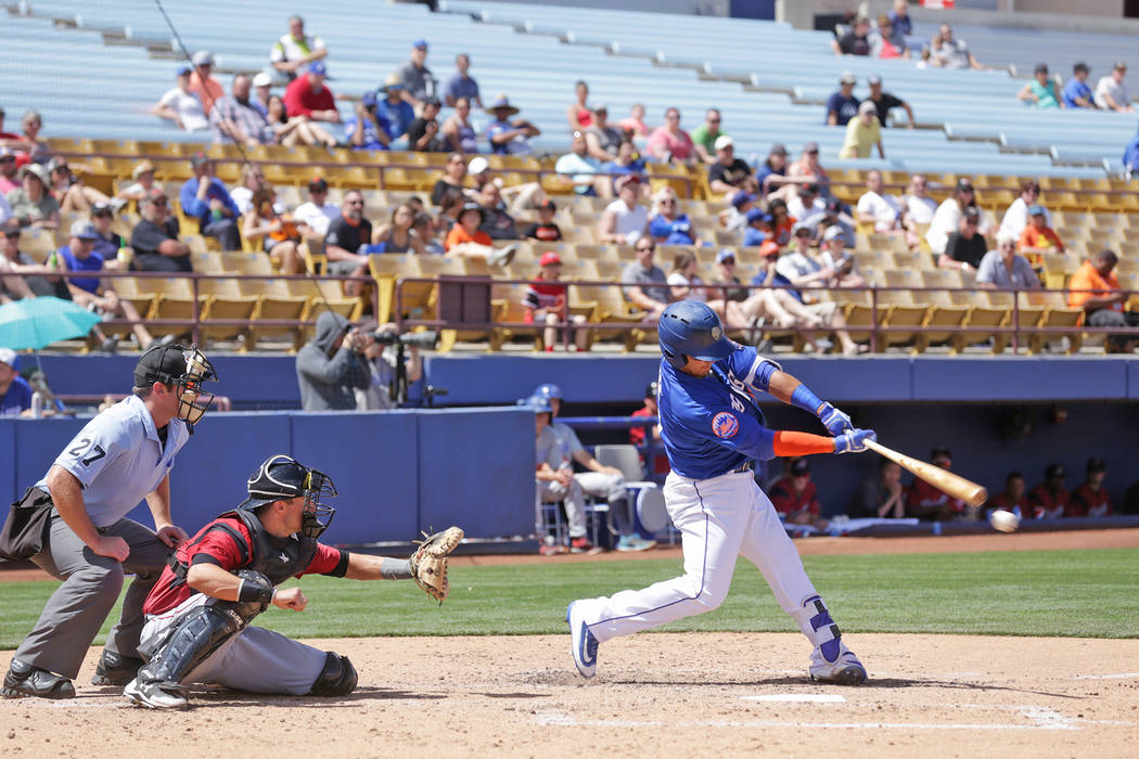 Las Vegas 51s Phillip Evans prepares to bat on Sunday, April 16, 2017, against the Sacramento River Rats at Cashman Field in Las Vegas. Rachel Aston Las Vegas Review-Journal @rookie__rae
