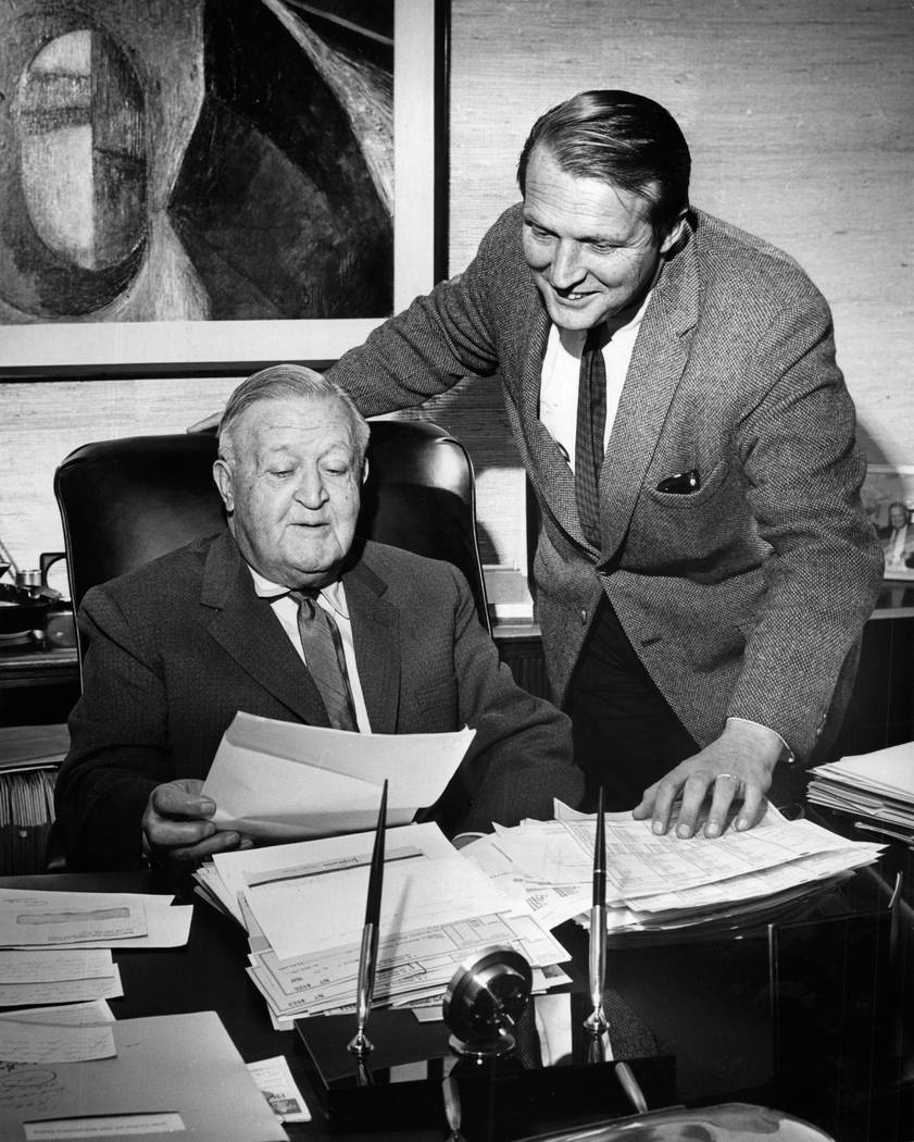 J.K. Houssels Sr., left, and J.K. Housells, Jr. in this 1969 photo. John  Malmin Los Angeles Times