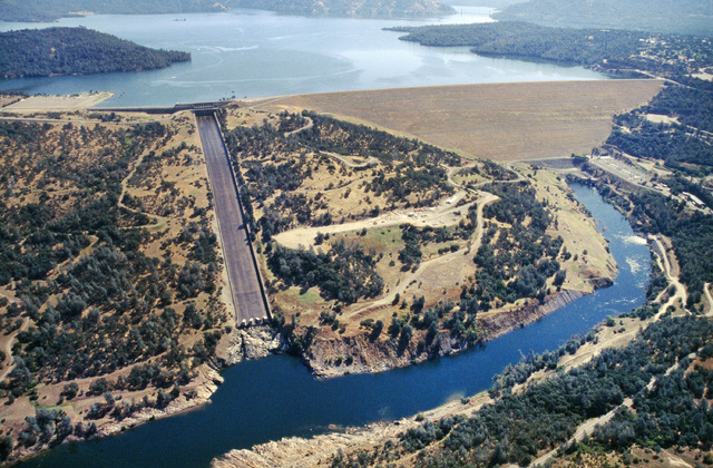 This June 23, 2005, aerial photo provided by the California Department of Water Resources shows Oroville Dam, Lake Oroville and the Feather River in the foothills of Sierra Nevada near Oroville, C ...