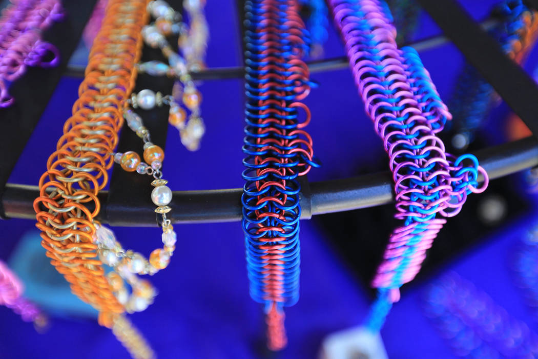 Colorful chainmail jewelry sits on a rack at The Green Merchant during Pirate Fest 2017 at Craig Ranch Regional Park on Friday, April 21, 2017. Brett Le Blanc Las Vegas Review-Journal @bleblancphoto