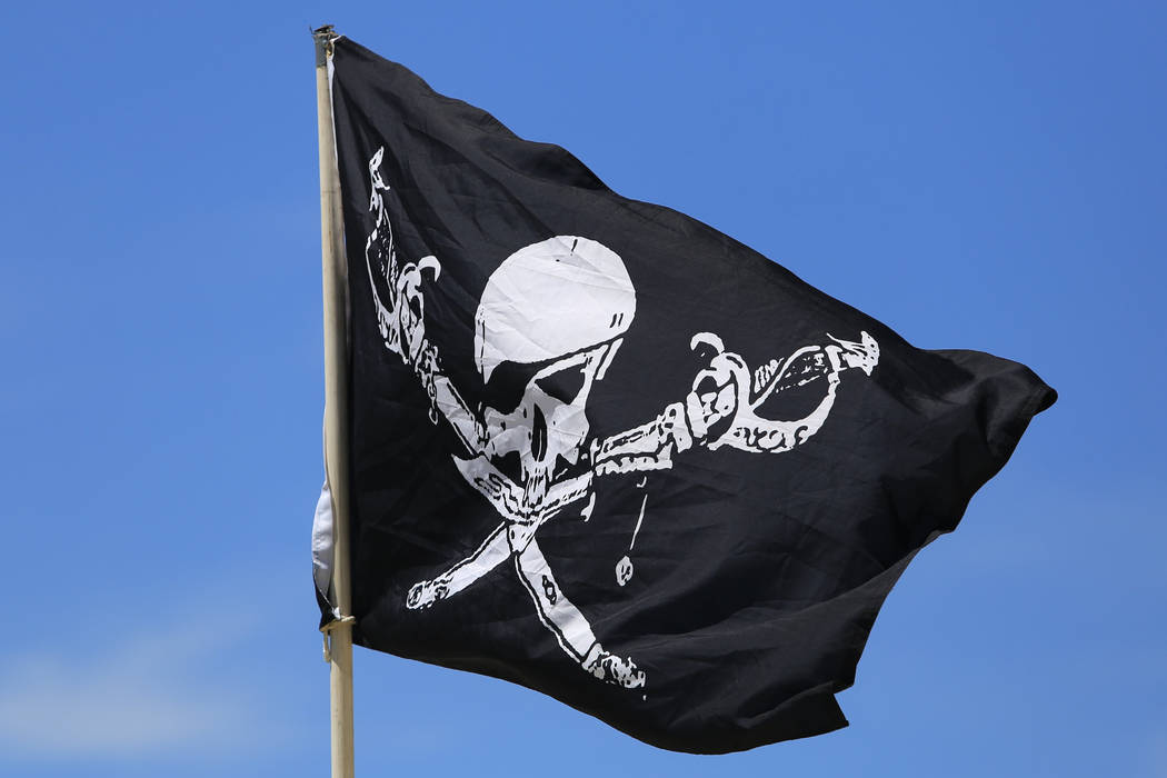 A pirate flag flaps in the breeze during Pirate Fest 2017 at Craig Ranch Regional Park on Friday, April 21, 2017. Brett Le Blanc Las Vegas Review-Journal @bleblancphoto