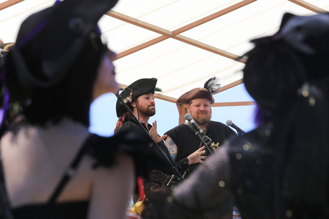 """""""Quartermaster Rotten,"""" middle left, and """"Melvin Smedley,"""" middle right, take part in the opening ceremony during Pirate Fest 2017 at Craig Ranch Regional Park  ..."""