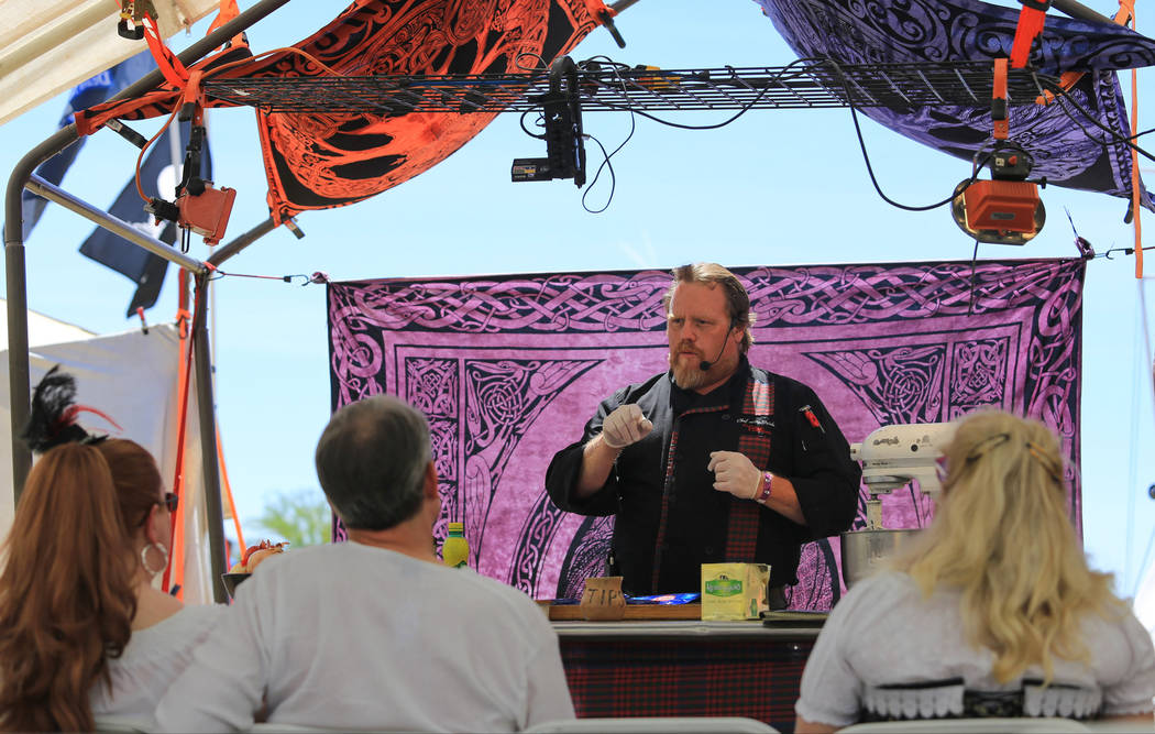 Chef Eric W. McBride gives a cooking class about how to make Scottish smoke salmon cheese pate during Pirate Fest 2017 at Craig Ranch Regional Park on Friday, April 21, 2017. Brett Le Blanc Las Ve ...