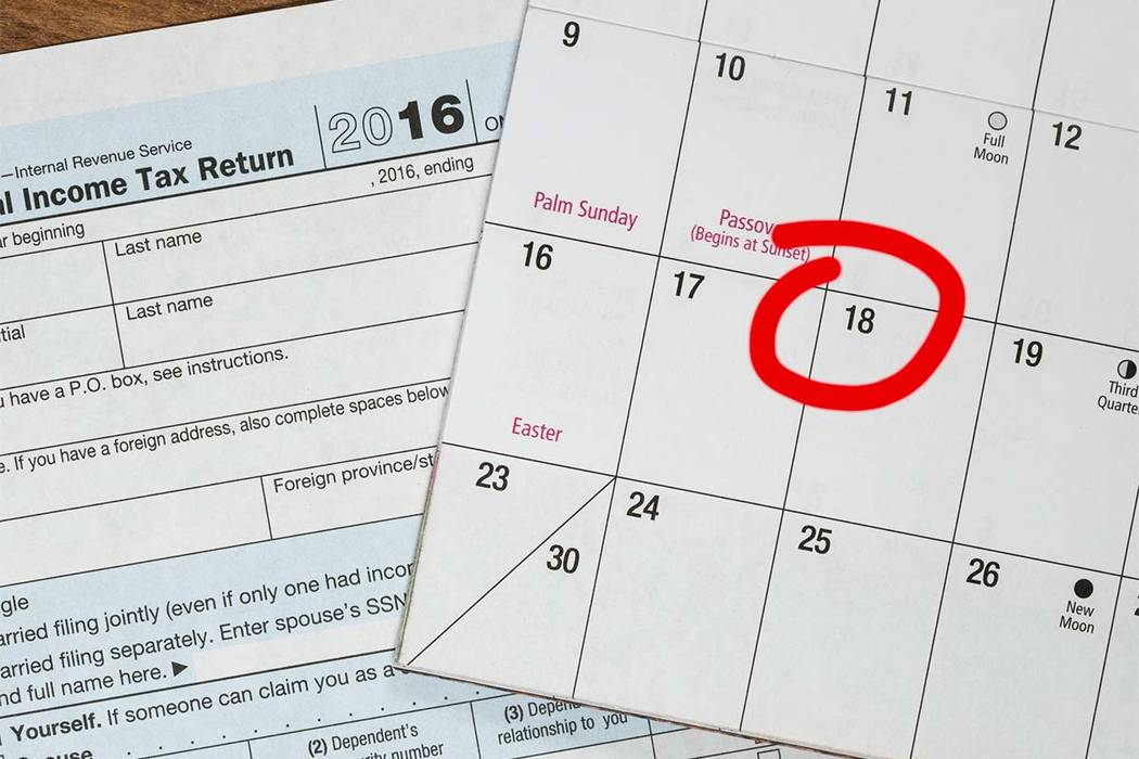 Calendar On Top Of Form 1040 Income Tax Form For 2016 Showing Tax Day For  Filing