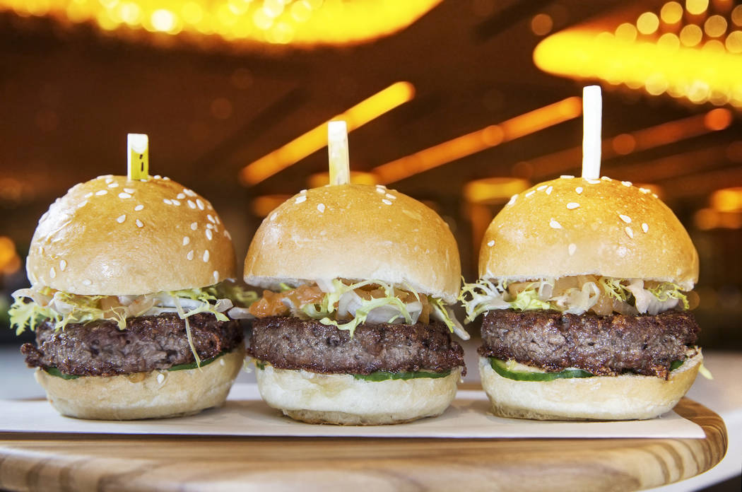The impossible burgers, made with frisee, kimchee, pickles, kalbi sauce and kochujang aioli at Andrea's at Encore at the Wynn Las Vegas hotel-casino, on Friday, April 14, 2017, in Las Vegas.  Benj ...
