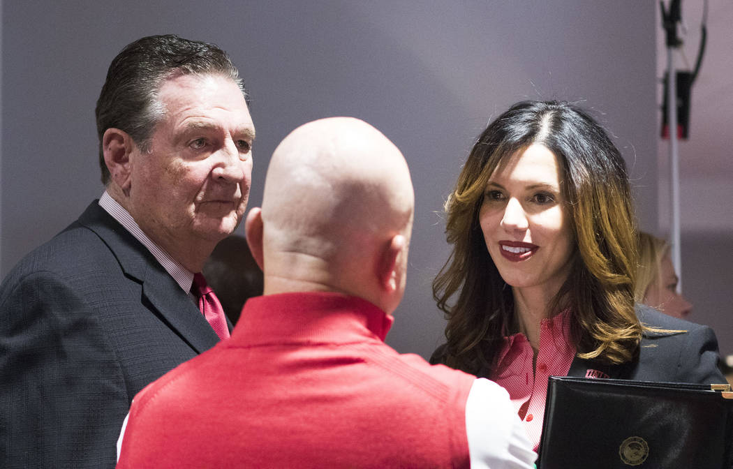 Former Nevada governor Bob Miller, left, meets with UNLV athletic director Desiree Reed-Francois, right, at the Redd Building in Las Vegas on Tuesday, April 18, 2017. Heidi Fang/Las Vegas Review-J ...