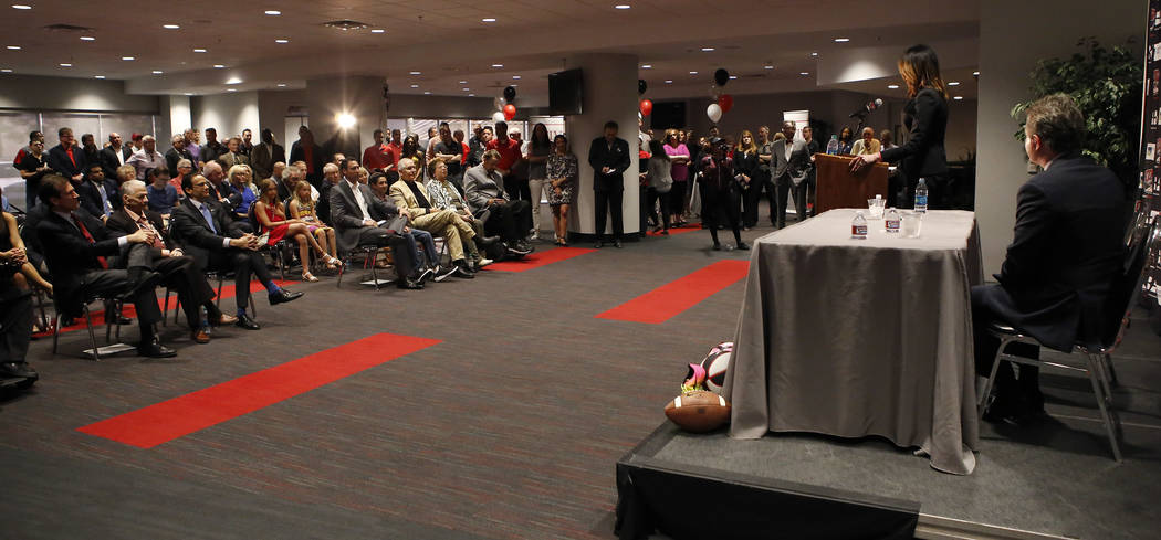 UNLV's new athletic director Desiree Reed-Francois speaks to a large crowd at the Thomas & Mack Center during a press conference on Tuesday, April 18, 2017, in Las Vegas. Christian K. Lee Las  ...