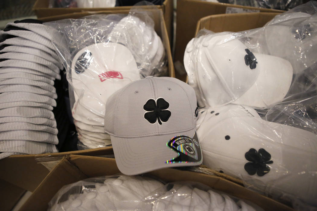 Black Clover Apparel branded hats inside the store at the MGM Grand Hotel & Casino located on The Strip on Wednesday, April 19, 2017, in Las Vegas.  This will be the first brick-and-mortar ret ...