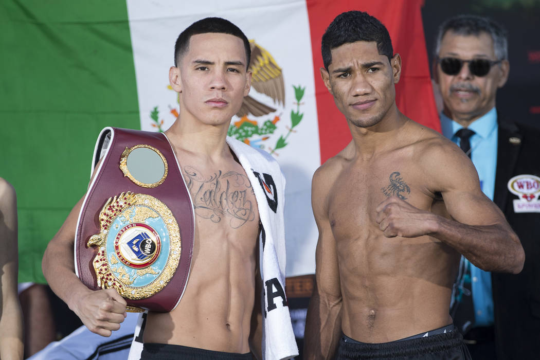 Oscar Valdez Jr., left, and Miguel Marriaga during their weigh-in at the StubHub Center on Friday, April 21, 2017, in Carson, Calif. Erik Verduzco Las Vegas Review-Journal @Erik_Verduzco