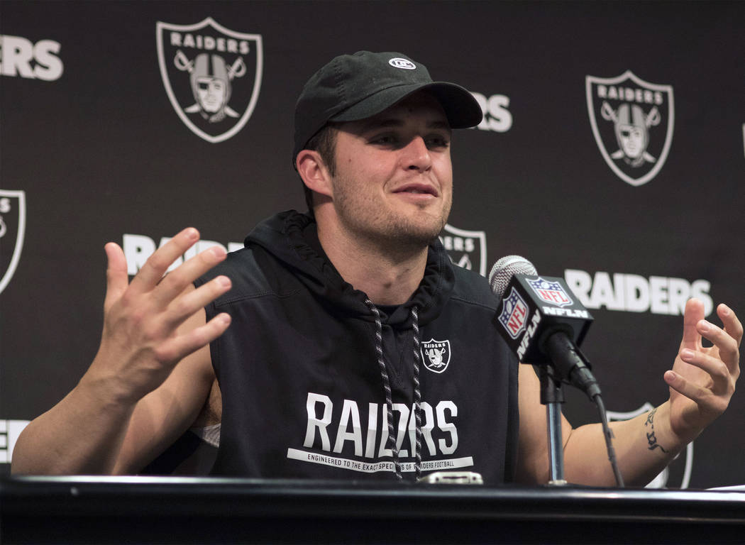 Oakland Raiders quarterback Derek Carr discusses the team's impending move to Las Vegas at an off-season news conference at the team facility in Alameda, Calif., on April 17, 2017. Heidi Fang/Las  ...