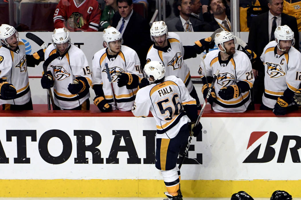 Nashville Predators center Kevin Fiala (56) celebrates his goal against the Chicago Blackhawks during the third period in Game 2 of a first-round NHL hockey playoff series, Saturday, April 15, 201 ...