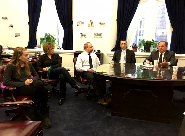 Treasurer Dan Schwartz, right, and Sen. Scott Hammond, second from right, met with parents to discuss the ESA program on Thursday, Feb. 23, 2017, including Robin Brockelsby and her daughter Taylor ...