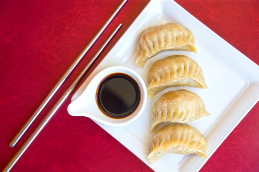 Potstickers at the private pool at the Lucky Dragon hotel-casino on Thursday, April 20, 2017, in Las Vegas. Benjamin Hager Las Vegas Review-Journal @benjaminhphoto