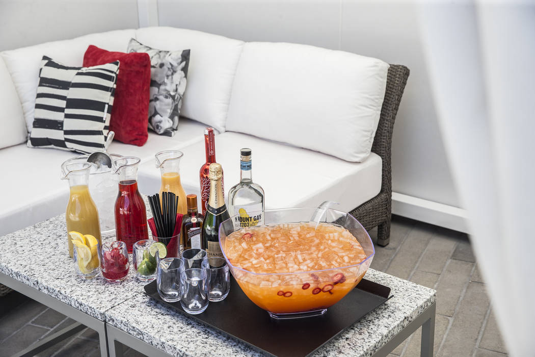 The Taichung sparkle punch bowl at the private pool at the Lucky Dragon hotel-casino on Thursday, April 20, 2017, in Las Vegas. Benjamin Hager Las Vegas Review-Journal @benjaminhphoto