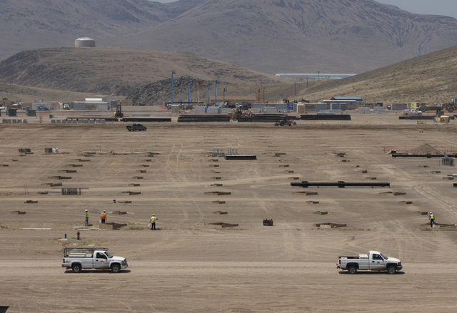 Construction continues at Section F of the new Tesla Gigafactory during a media tour Tuesday, July 26, 2016, in Sparks, Nev. (AP Photo/Rich Pedroncelli)