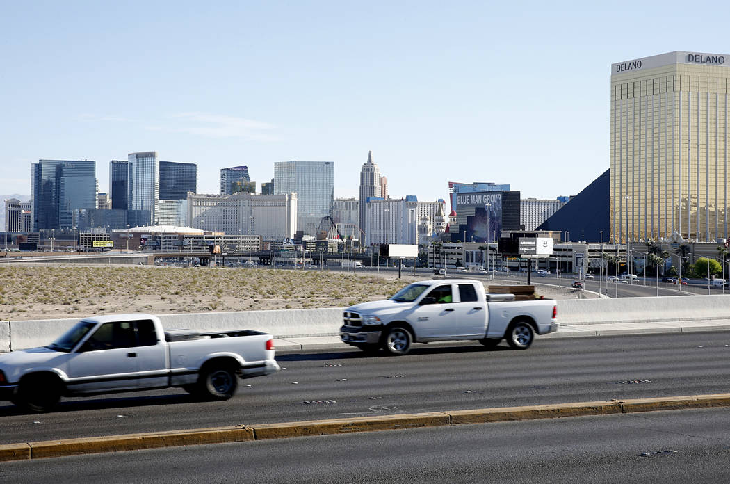 The lot where officials want to build a NFL football stadium to draw the Raiders to Las Vegas as seen from West Russell Road on Tuesday, April 18, 2017, in Las Vegas. Bizuayehu Tesfaye Las Vegas R ...