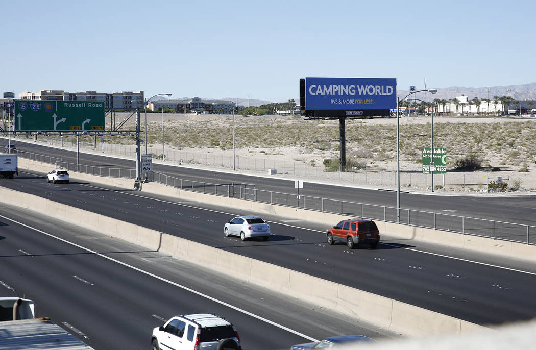 The lot where officials want to build a NFL football stadium to draw the Raiders to Las Vegas as seen from Hacienda Avenue near Russell Road exit on Southbound I-15 on Tuesday, April 18, 2017, in  ...