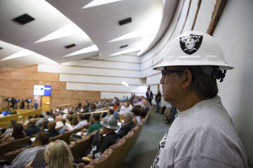 Adrian Lozano, member of the Laborers Union Local 872, attend a Las Vegas Stadium Authority meeting at the Clark County Government Center on Thursday, April 20, 2017, in Las Vegas. Erik Verduzco L ...