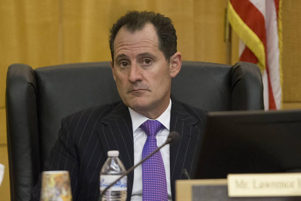 Board member Lawrence Epstein during a Las Vegas Stadium Authority meeting at the Clark County Government Center on Thursday, April 20, 2017, in Las Vegas. Erik Verduzco Las Vegas Review-Journal @ ...