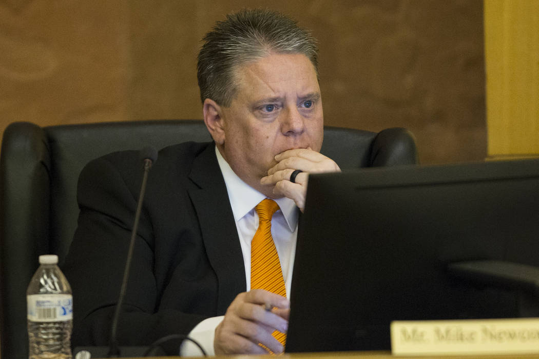 Board member Mike Newcomb during a Las Vegas Stadium Authority meeting at the Clark County Government Center on Thursday, April 20, 2017, in Las Vegas. Erik Verduzco Las Vegas Review-Journal @Erik ...