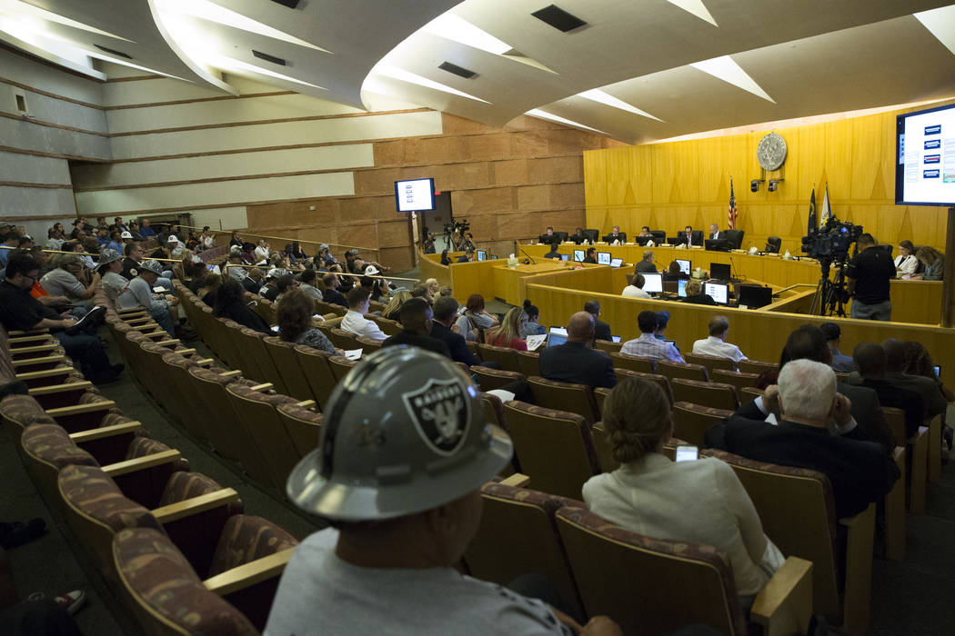 People attend a Las Vegas Stadium Authority meeting at the Clark County Government Center on Thursday, April 20, 2017, in Las Vegas. Erik Verduzco Las Vegas Review-Journal @Erik_Verduzco