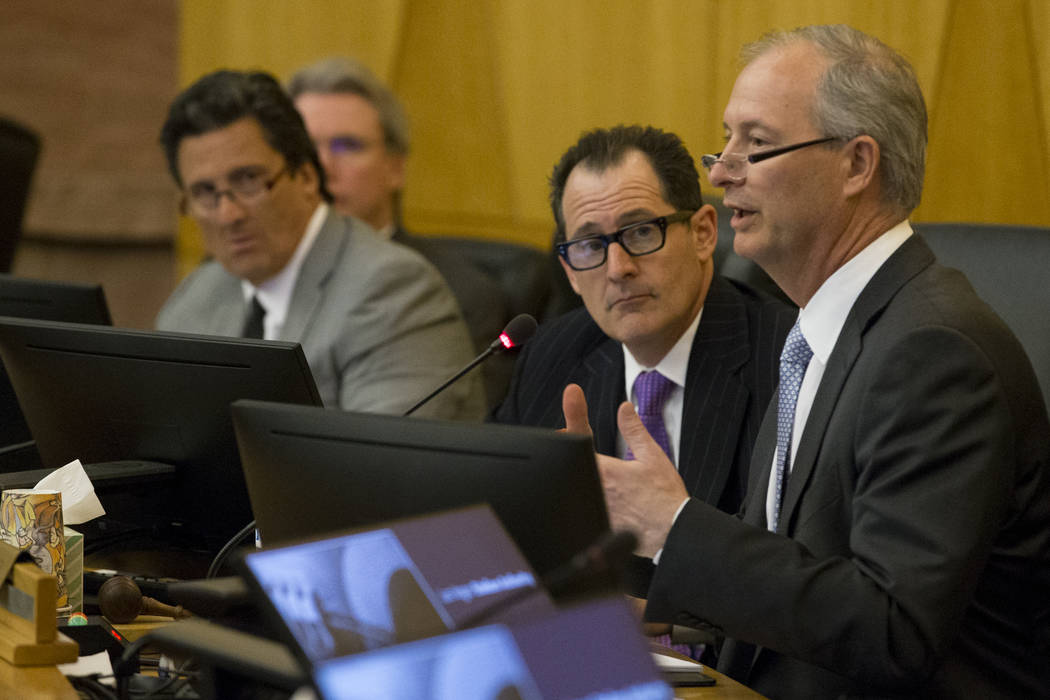 Board member Steve Hill, right, speaks during a Las Vegas Stadium Authority meeting at the Clark County Government Center on Thursday, April 20, 2017, in Las Vegas. Erik Verduzco Las Vegas Review- ...