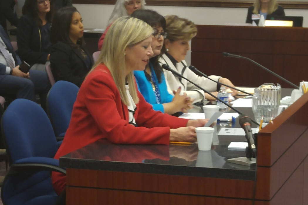 Assemblywoman Lisa Krasner, R-Reno, Speaker Pro Tempore Irene Bustamante Adams, D-Las Vegas, and attorney Gloria Allred testify on Wednesday, March 1, 2017, before the Assembly Judiciary Committee ...