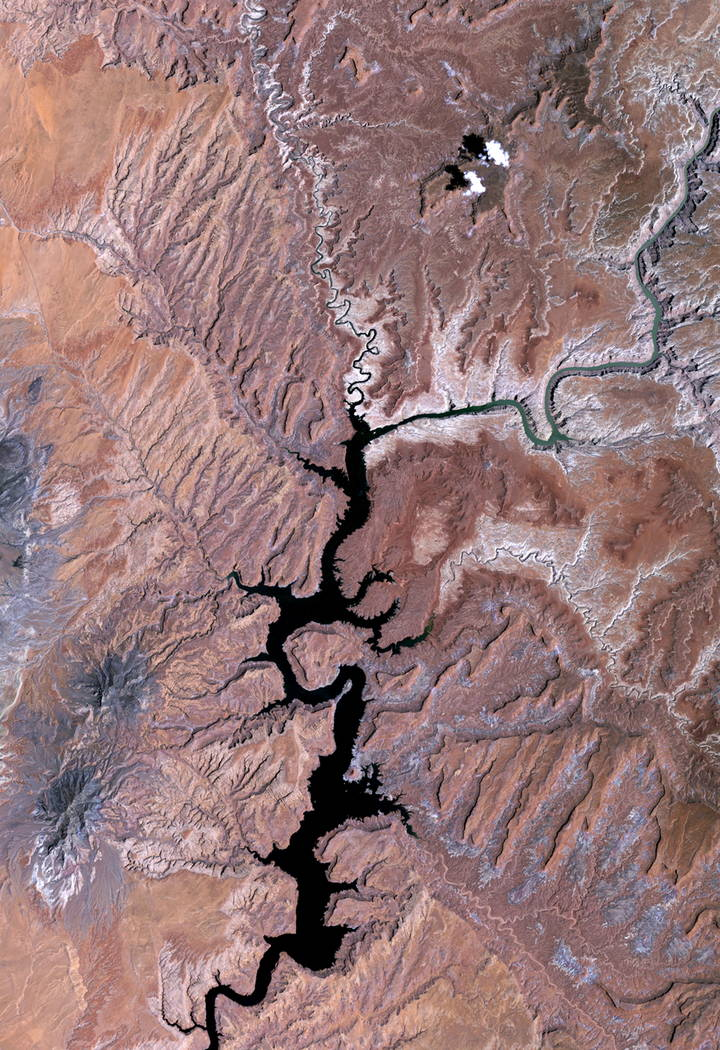 Lake Powell in the United States is seen in a NASA satellite image taken in 1991. Lake Powell on the Colorado River provides water for Nevada, Arizona and California. A severe drought in recent ye ...