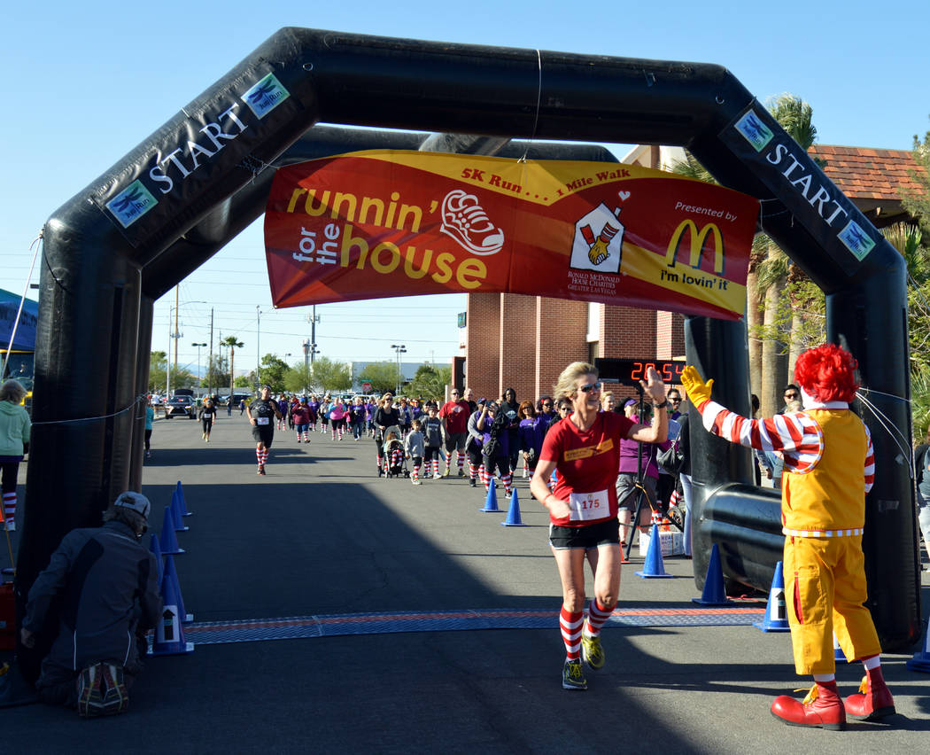 The Ronald McDonald House Charities of Greater Las Vegas 13th annual Runnin' for the House will be April 29. Ronald McDonald will be on hand to cheer runners at the finish.