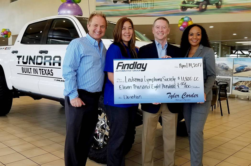 Findlay Automotive Group Findlay Automotive Group recently delivered a donation of $11,800 to boost the efforts of Findlay Toyota General Manager John Barr, left, to become the Leukemia & Lymp ...