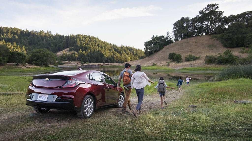 """Chevrolet The Chevrolet Volt is a plug-in hybrid electric vehicle that can travel 53 miles in electric-only mode before a gasoline generator turns on to extend its range to 430 miles total."""""""