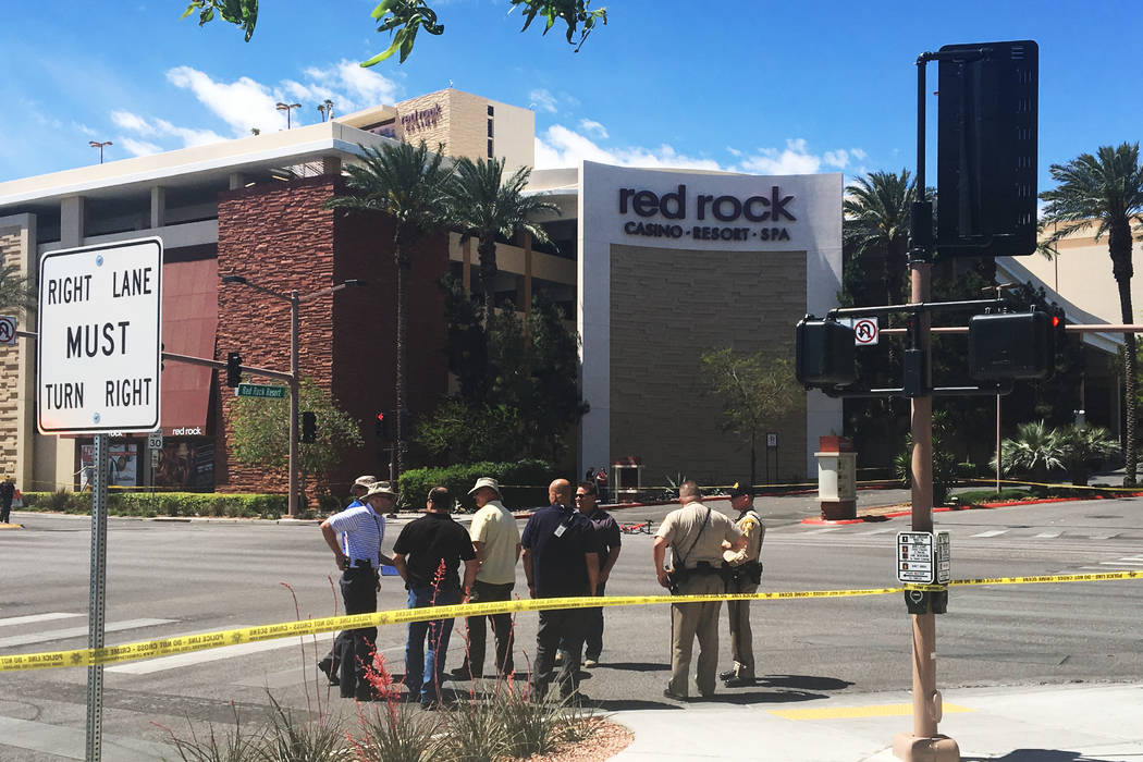 Las Vegas police investigate a fatal crash that left a bicyclist dead in the northwest Las Vegas Valley near Red Rock Station on Tuesday, April 18, 2017. (Bizuayehu Tesfaye/Las Vegas Review-Journa ...