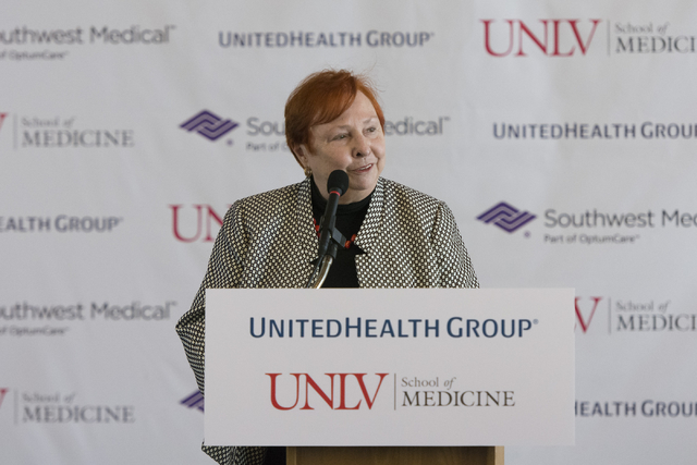 Barbara Atkinson, founding dean of UNLV's School of Medicine, speaks during a ceremony to announce the school's receipt of a $3 million grant from United Health Foundation held at UNLV's Foundatio ...
