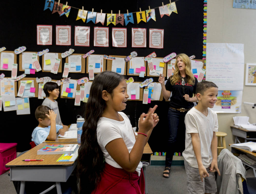 Student's in Amy Bennett's third grade classroom sing a song paired with their lesson on mathematics at Vanderburg Elementary in Henderson, Wednesday, April 19, 2017. Elizabeth Brumley Las Vegas R ...