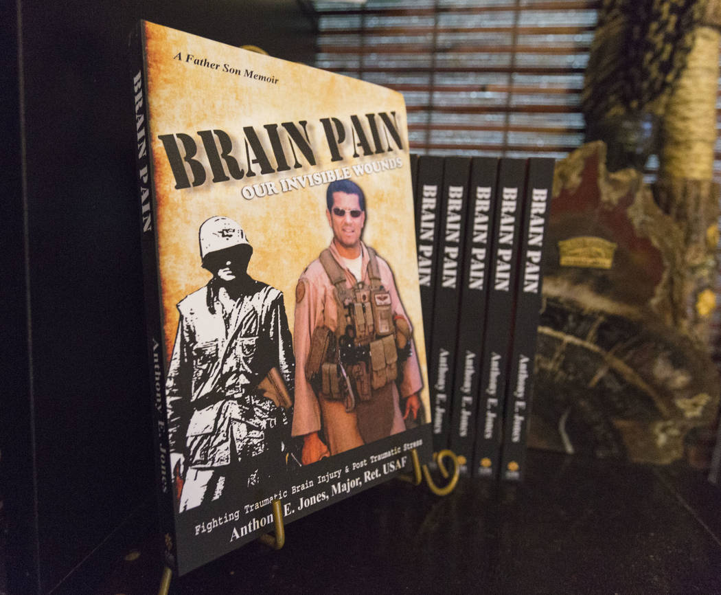 Author and former Air Force major Anthony Jones's book Brain Pain regarding his major brain injuries from Iraq, in his home in Las Vegas, Wednesday, April 19, 2017. Elizabeth Brumley Las Vegas Rev ...