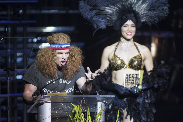 Luxor headliner comedian Carrot Top presents an award during the 2016 Best of Las Vegas Awards at The Venetian on Saturday, Nov. 5, 2016, in Las Vegas. (Loren Townsley/Las Vegas Review-Journal)