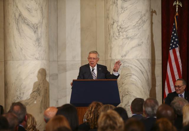 Senate Minority Leader Harry Reid, D-Nev., speaks during a ceremony to unveil his portrait on Capitol Hill in Washington D.C. on Thursday, Dec. 8, 2016. (Chase Stevens/Las Vegas Review-Journal) @c ...