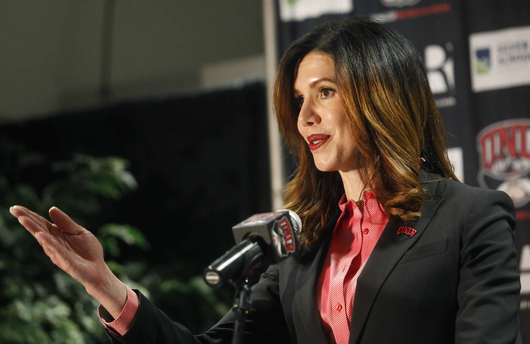 UNLV's new athletic director Desiree Reed-Francois speaks at the Thomas & Mack Center during a press conference on Tuesday, April 18, 2017, in Las Vegas. Christian K. Lee Las Vegas Review-Jour ...