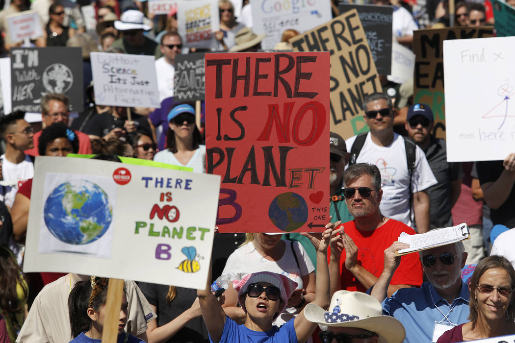 People during a March for Science rally at the Art Square Parking Lot on Saturday, April 22, 2017, in Las Vegas. Christian K. Lee Las Vegas Review-Journal @chrisklee_jpeg
