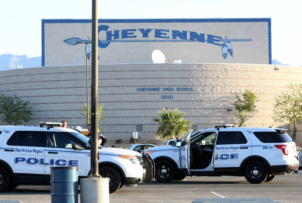 North Las Vegas police investigate a burglary at Cheyenne High School, 3200 W. Alexander Road, early Wednesday, April 19, 2017. Bizuayehu Tesfaye Las Vegas Review-Journal @bizutesfaye