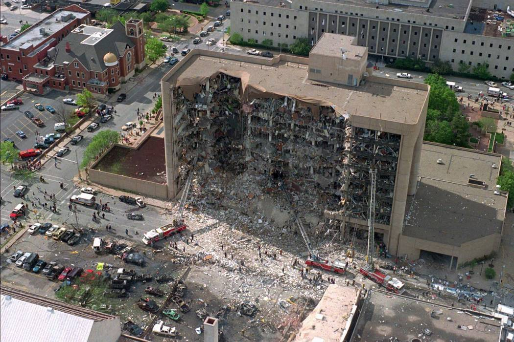 This April 19, 1995, file photo, shows the north side of the Alfred P. Murrah Federal Building in Oklahoma City after an explosion that killed 168 people and injured hundreds. (AP)