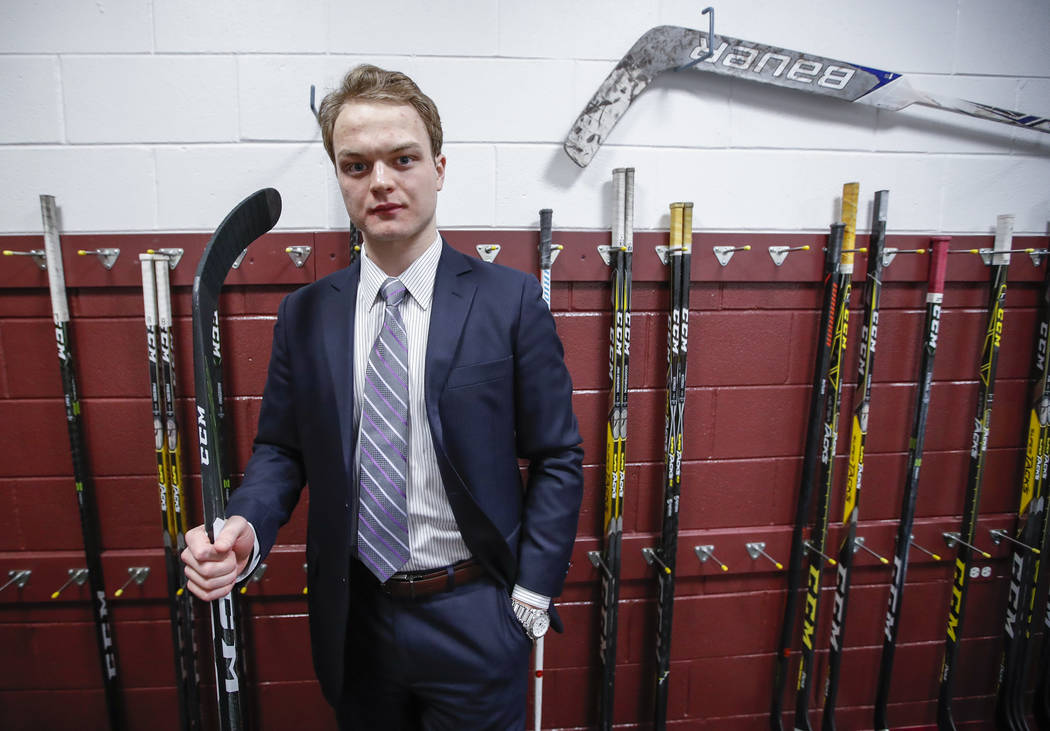 Reid Duke of the Vegas Golden Knights poses for a photo at the Allstate Arena in Rosemont, Ill., on Saturday, April 8, 2017. (Kamil Krzaczynski/for the Las Vegas Review-Journal)